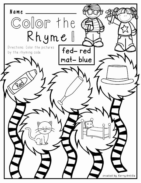 Cat In the Hat Worksheets for Preschoolers Best Of Cat Hat Mat No Prep Rhyming Worksheets Free
