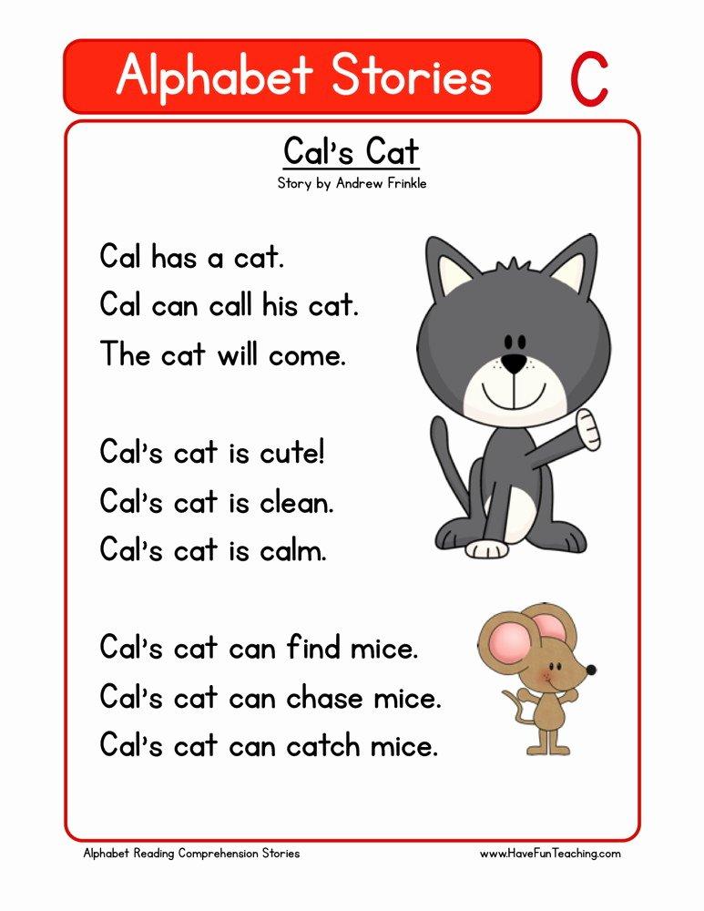 Cat Worksheets for Preschoolers Beautiful Reading Prehension Worksheet Cal S Cat