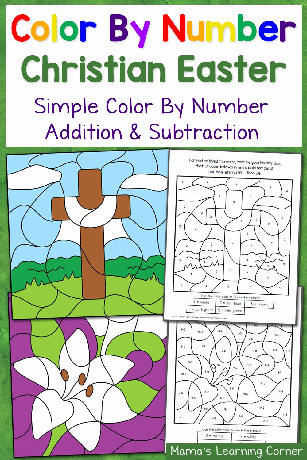Christian Easter Worksheets for Preschoolers Awesome Christian Easter Color by Number Worksheets Mamas Learning