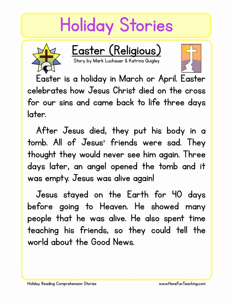 Christian Easter Worksheets for Preschoolers Inspirational Christian Easter Reading Prehension Worksheet