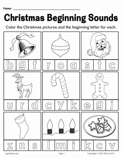 Christmas Alphabet Worksheets for Preschoolers Beautiful Free Printable Christmas Beginning sounds Worksheet