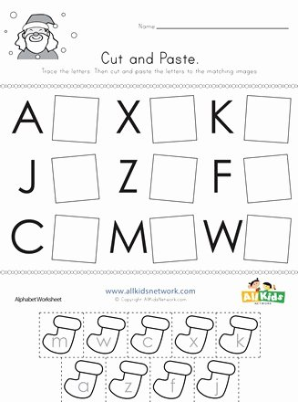 Christmas Alphabet Worksheets for Preschoolers Unique Christmas Cut and Paste Letter Matching Worksheet
