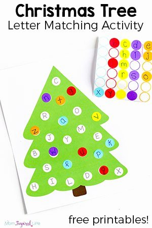 Christmas Alphabet Worksheets for Preschoolers Unique Christmas Tree Letter Matching Activity with Free Printable