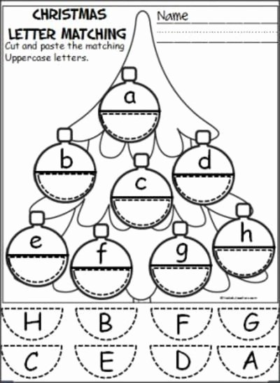 Christmas Alphabet Worksheets for Preschoolers Unique Free Christmas ornament Alphabet Activity Students Cut and