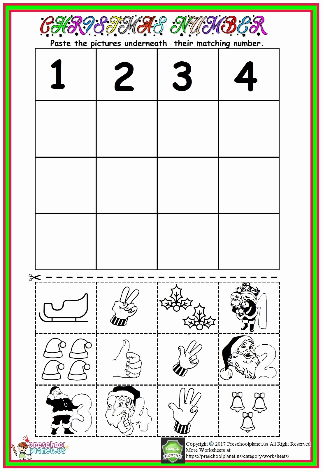 Christmas Number Worksheets for Preschoolers Awesome Christmas Number Worksheet – Preschoolplanet