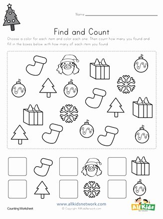 Christmas Number Worksheets for Preschoolers New Christmas Find and Count Worksheet