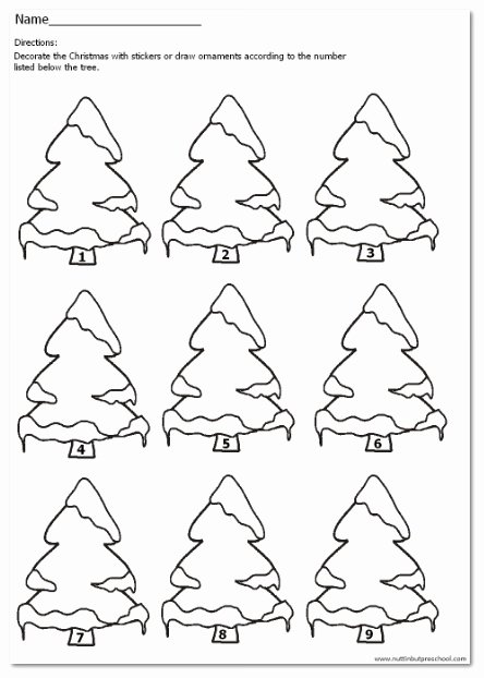 Christmas Number Worksheets for Preschoolers New Christmas Tree Number Match 1 9