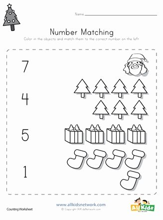 Christmas Number Worksheets for Preschoolers Unique Christmas Number Matching Worksheet