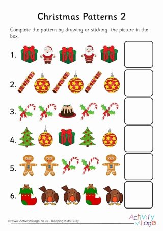 Christmas Pattern Worksheets for Preschoolers top Pattern Worksheets