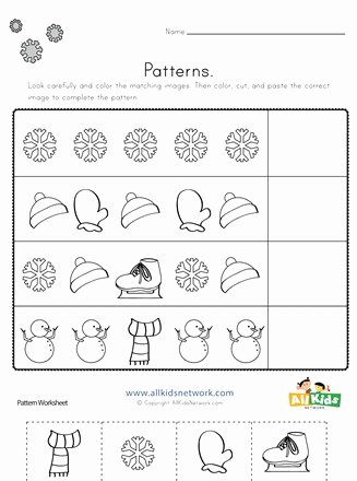 Christmas Pattern Worksheets for Preschoolers top Winter Cut and Paste Patterns Worksheet