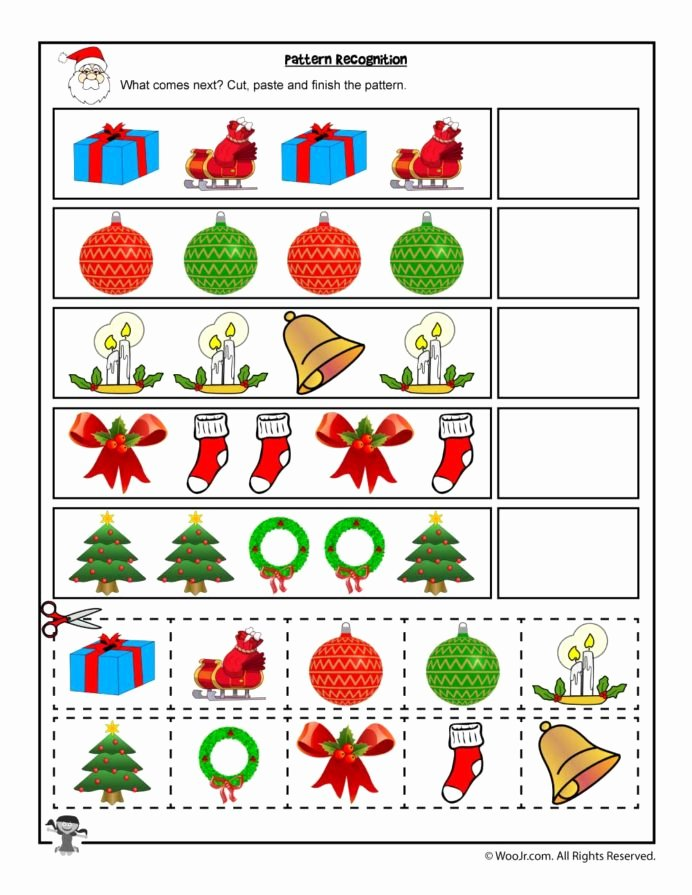 Christmas Pattern Worksheets for Preschoolers Unique Cut and Paste Christmas Pattern Recognition Worksheet Woo Jr