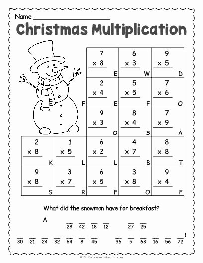 Christmas Worksheets for Preschoolers Best Of Free Printable Christmas Multiplication Worksheet Math