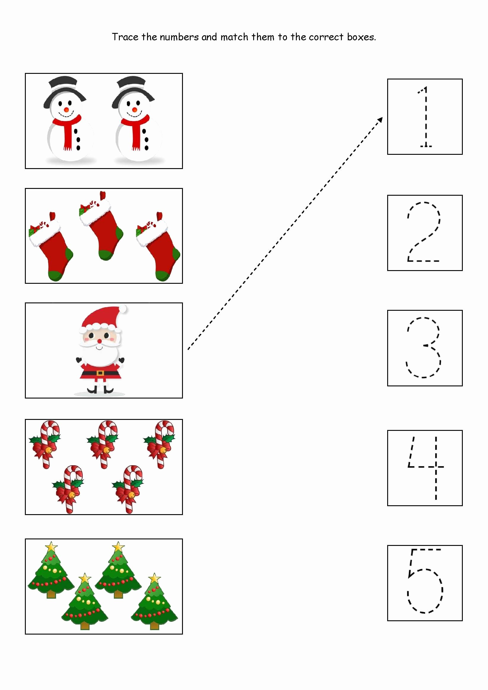 Christmas Worksheets for Preschoolers New Cute Little Christmas Counting Matching and Tracing