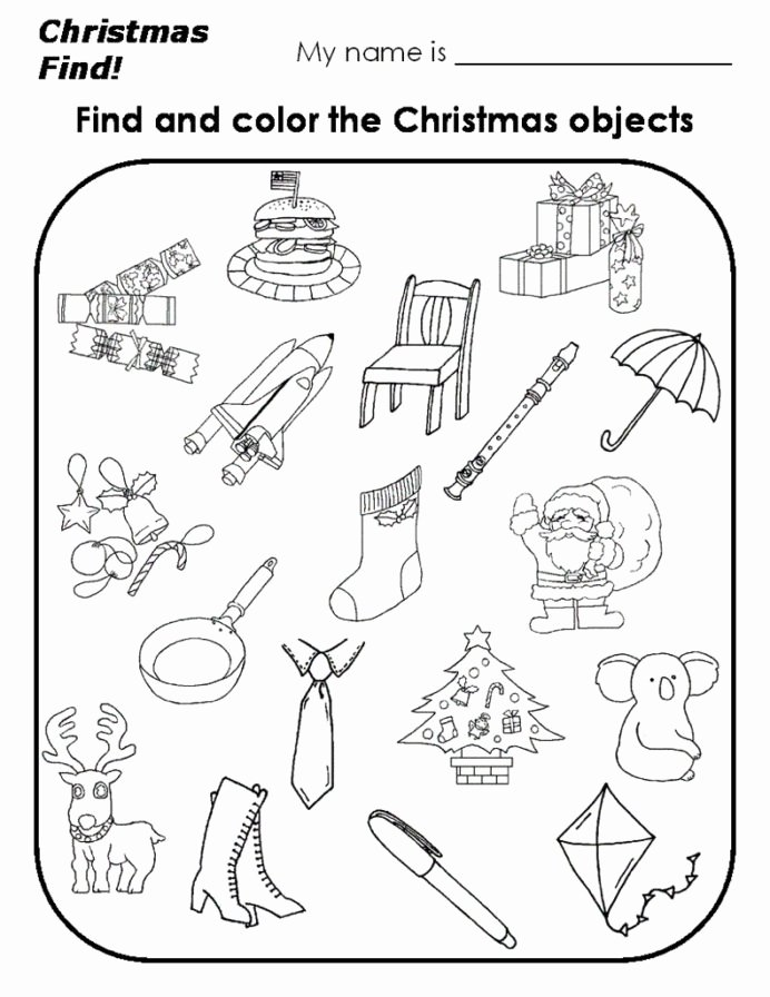 Christmas Worksheets for Preschoolers Printables Fresh Christmas Find and Color Holiday Worksheets Craft for