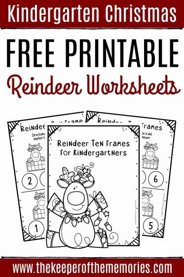 Christmas Worksheets for Preschoolers Printables Inspirational Free Printable Reindeer Ten Frame Kindergarten Worksheets