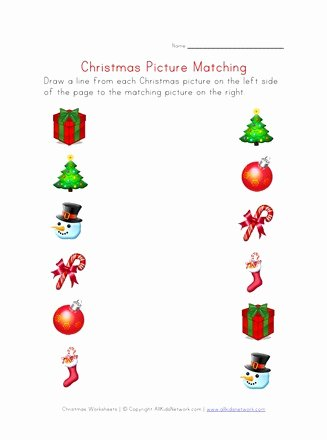 Christmas Worksheets for Preschoolers Printables Unique Christmas Matching Worksheet