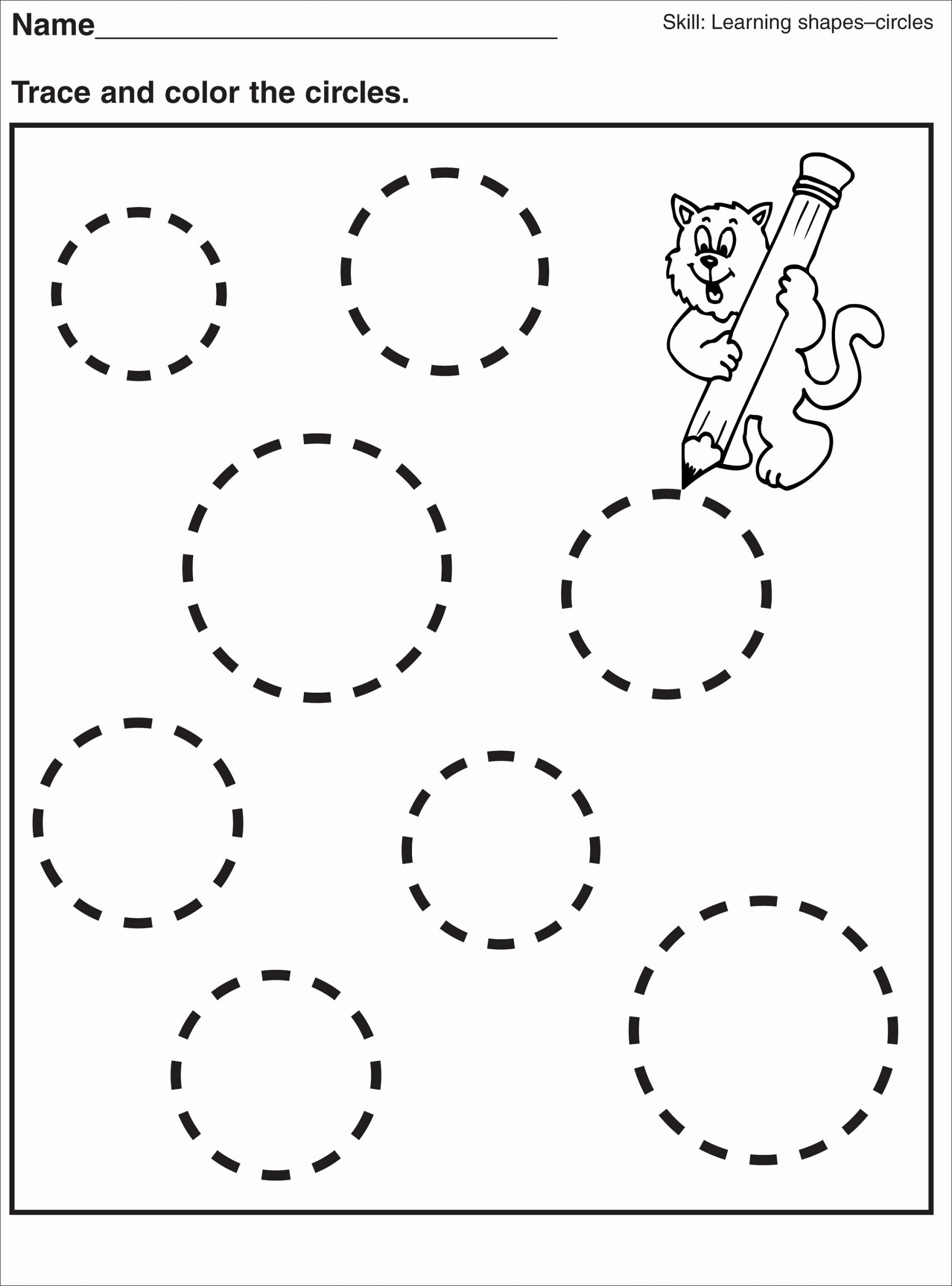 Circle Shape Worksheets for Preschoolers Fresh Tracing Pages for Preschool