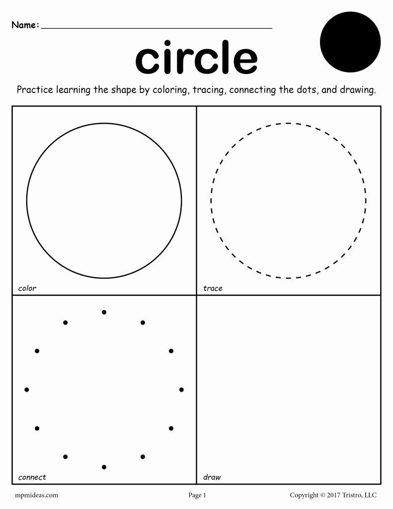 Circle Shape Worksheets for Preschoolers Unique Circle Shape Worksheet Color Trace Connect & Draw