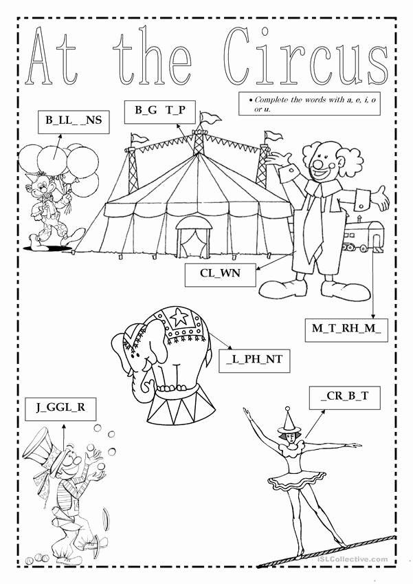 Circus Worksheets for Preschoolers Beautiful at the Circus Worksheet Free Esl Printable Worksheets Made