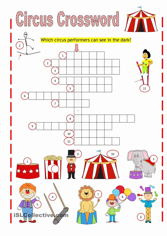 Circus Worksheets for Preschoolers Fresh Circus Crossword