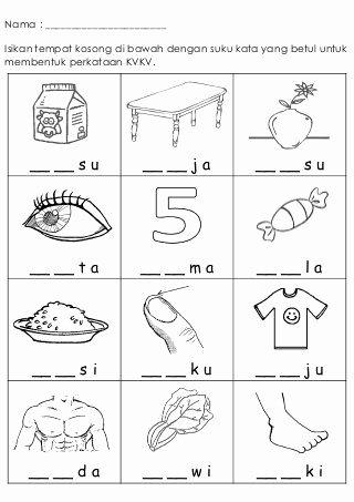 Cognitive Worksheets for Preschoolers Lovely Latihan Kvkv 1