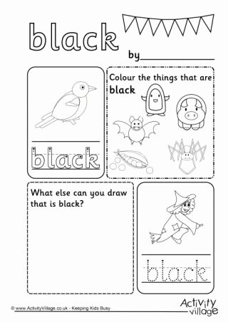 Color Black Worksheets for Preschoolers Beautiful Black Colour Worksheet