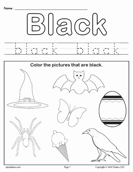 Color Black Worksheets for Preschoolers top Color Black Worksheet