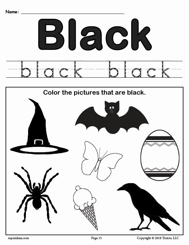 Color Black Worksheets for Preschoolers Unique Color Black Worksheet