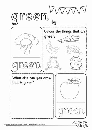 Color Green Worksheets for Preschoolers Beautiful Colour Worksheets