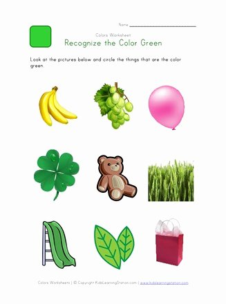 Color Green Worksheets for Preschoolers Beautiful Recognize the Color Green Colors Worksheet for Kids