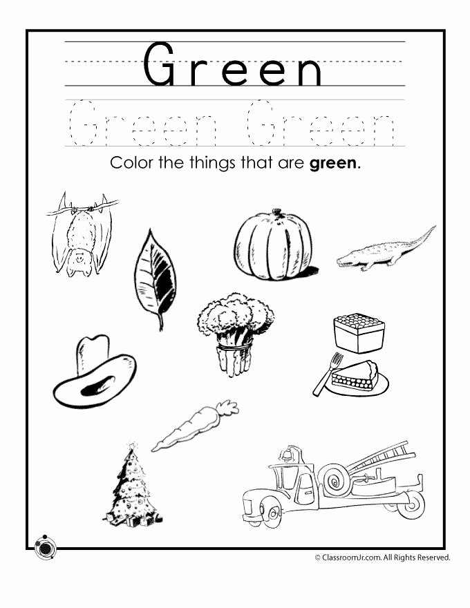 Color Green Worksheets for Preschoolers Fresh Color Green Worksheet Con Imágenes