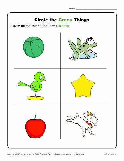 Color Green Worksheets for Preschoolers Inspirational Circle the Green Things