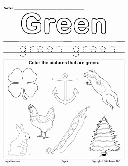 Color Green Worksheets for Preschoolers Unique Color Green Worksheet