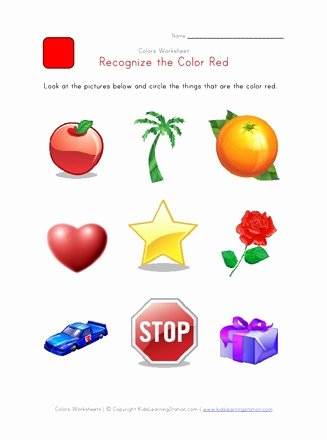 Color Recognition Worksheets for Preschoolers Awesome Recognize the Color Red Colors Worksheet for Kids