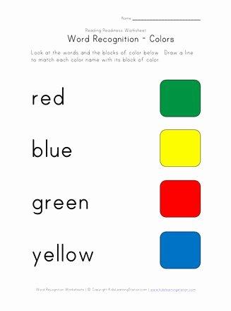 Color Recognition Worksheets for Preschoolers Inspirational Word Recognition Worksheet Colors
