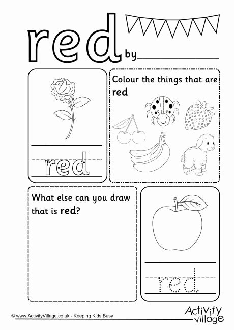 Color Red Worksheets for Preschoolers Awesome Red Colour Worksheet