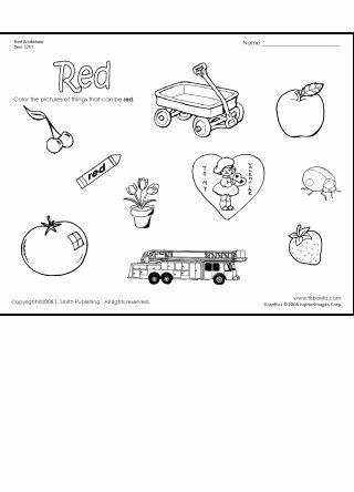 Color Red Worksheets for Preschoolers Fresh Color Things that are Red Worksheet