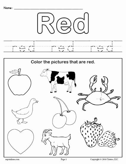 Color Red Worksheets for Preschoolers Fresh Free Printable Color Red Worksheet Color Red Worksheets