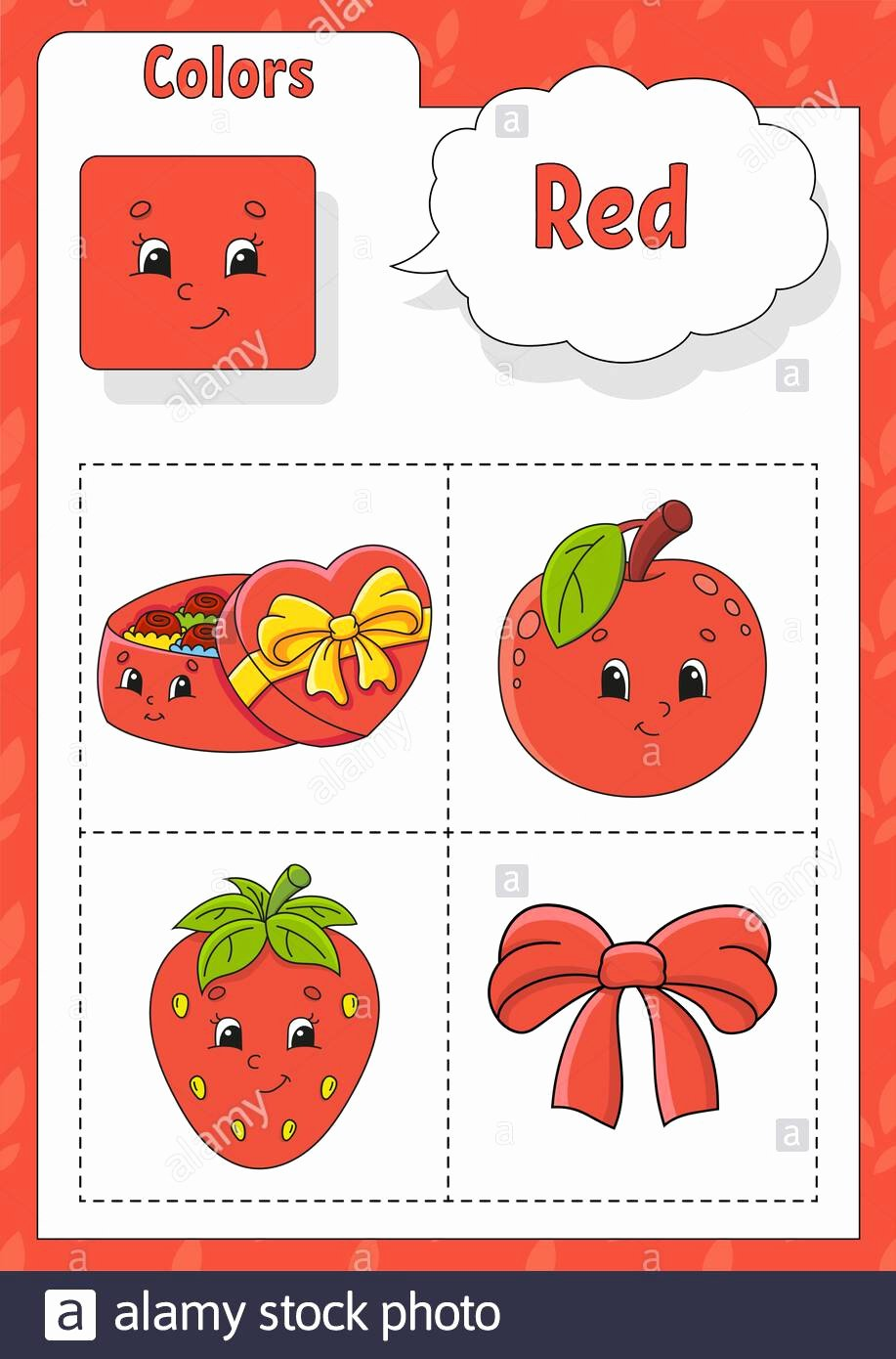 Color Red Worksheets for Preschoolers Fresh Learning Colors Red Color Flashcard for Kids Cute Cartoon