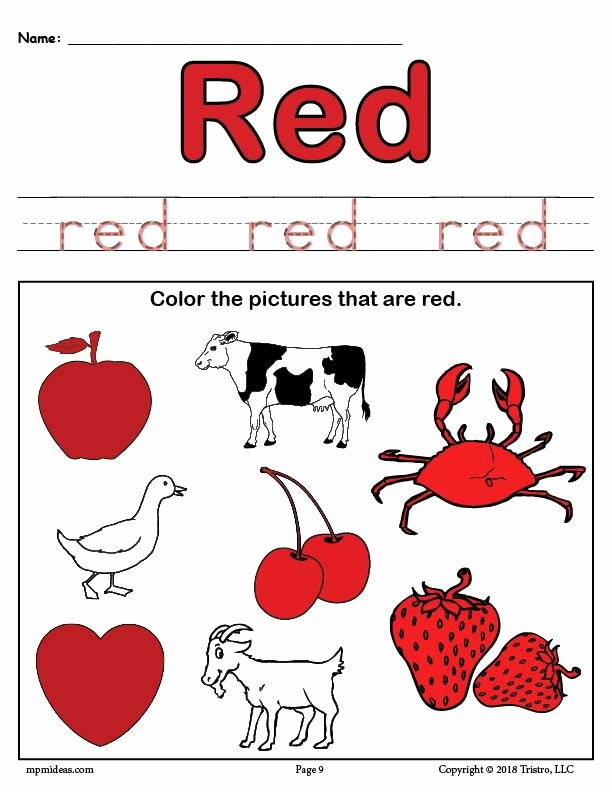 Color Red Worksheets for Preschoolers Fresh Learning Your Colors 8 Printable Color Worksheets