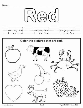Color Red Worksheets for Preschoolers Inspirational Number Tracing Worksheets 1 20