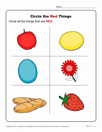 Color Red Worksheets for Preschoolers Lovely Circle the Red Things