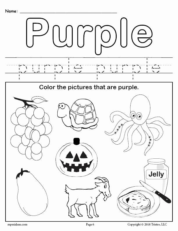 Color Worksheets for Preschoolers Beautiful Free Color Purple Worksheet
