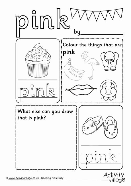 Color Worksheets for Preschoolers Beautiful Pink Colour Worksheet