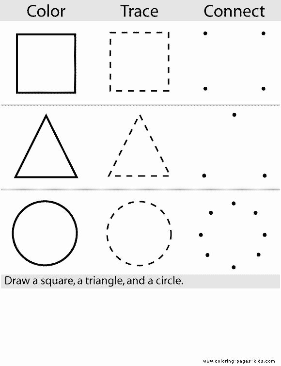 Color Worksheets for Preschoolers Beautiful Shape Color Pages Coloring Pages for Kids Educational