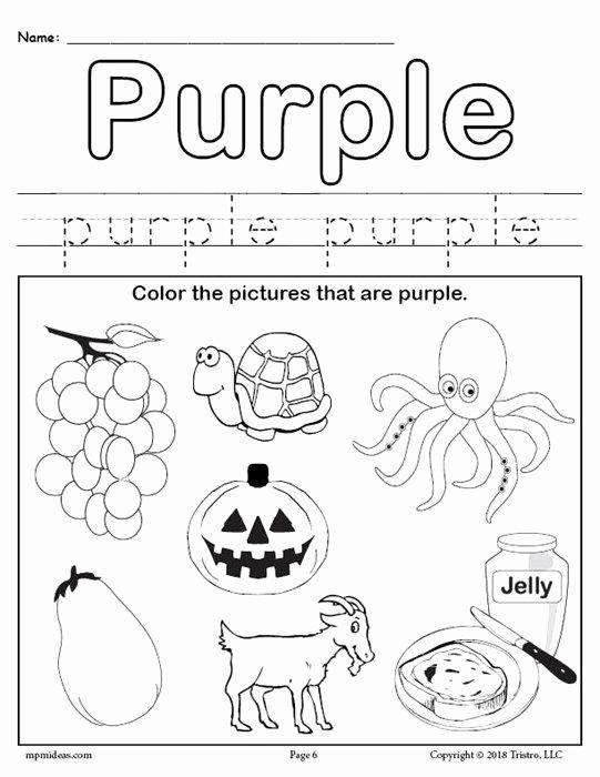 Color Worksheets for Preschoolers Best Of Color Purple Worksheet