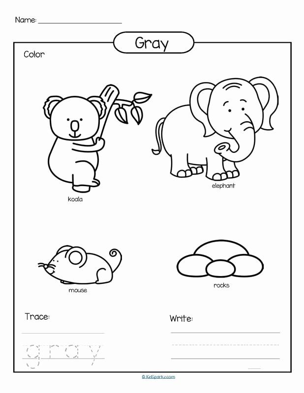 Color Worksheets for Preschoolers Fresh Color Gray Printable Color Trace and Write