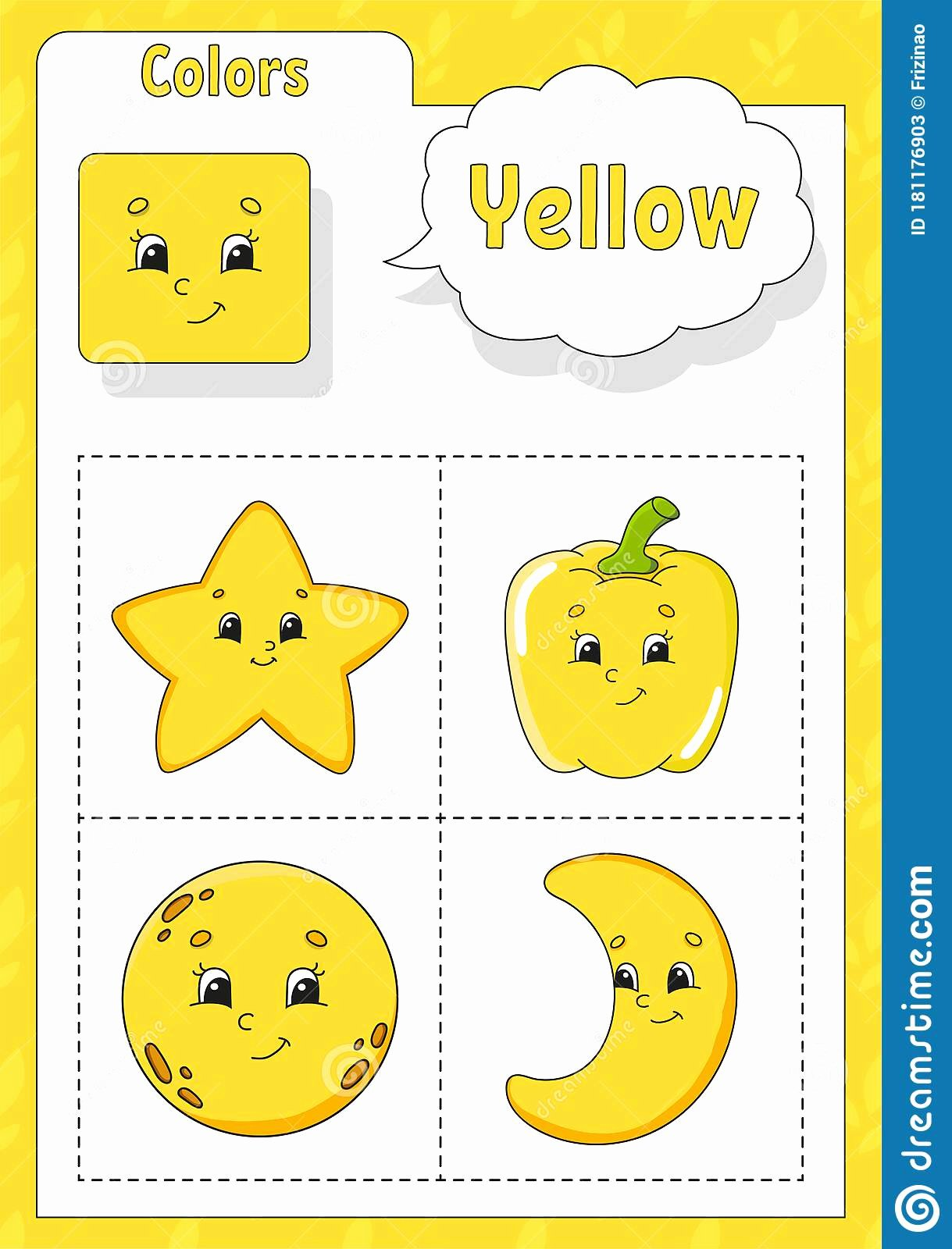 Color Yellow Worksheets for Preschoolers Fresh Learning Colors Yellow Color Flashcard for Kids Cute