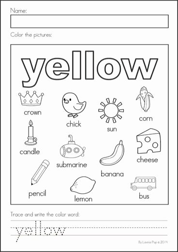 Color Yellow Worksheets for Preschoolers Inspirational Yellow