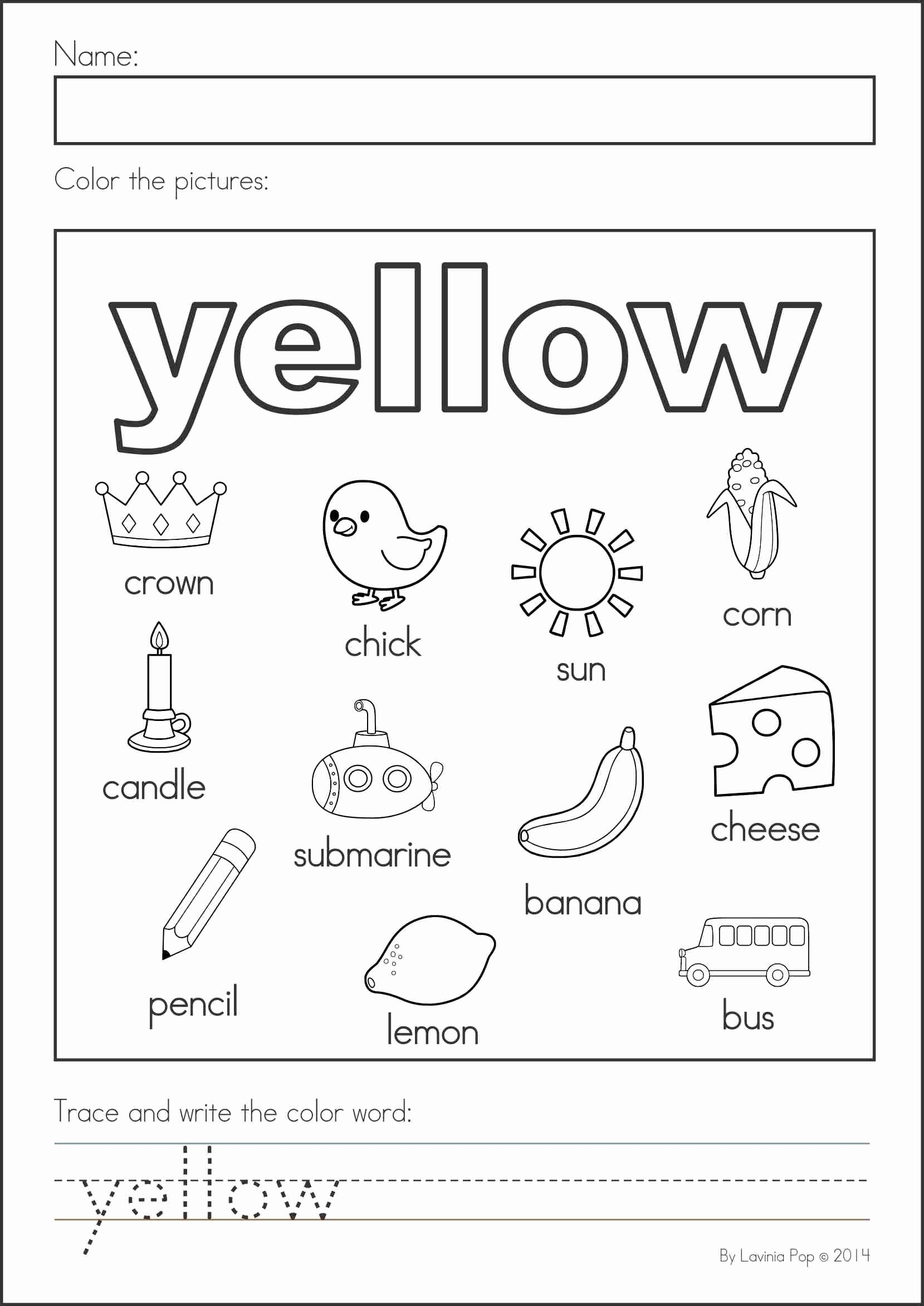 Color Yellow Worksheets for Preschoolers Lovely Back to School Math & Literacy Worksheets and Activities No